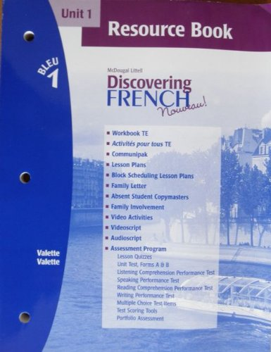 9780618298266: Discovering French Novveau (Unit 1 Resource Book, Bleu 1)