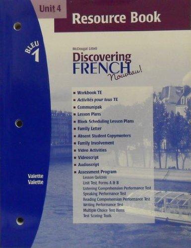 9780618298297: Discovering French Nouveau (Unit 4 Resource Book, Bleu 1)