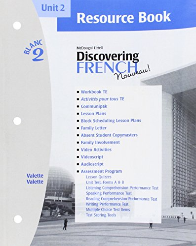 9780618298884: Discovering French Nouveau (Unit 2 Resource Book, Blanc 2)