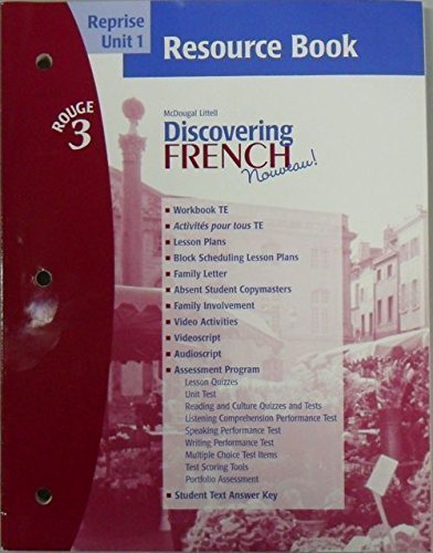 Dicovering French Novveau (Reprise Unit 1 Resource Book, Rouge 3): Jean-Paul Vallette and Rebecca M...