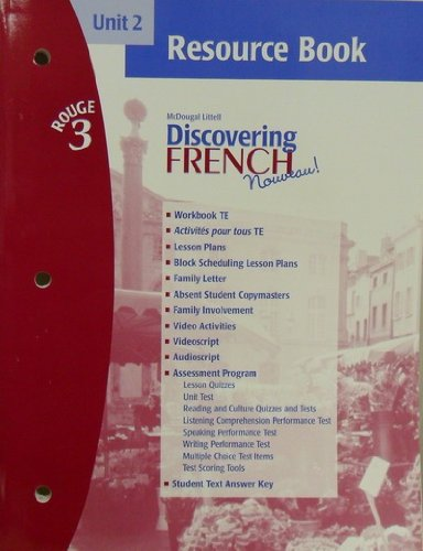9780618299263: Discovering French Novveau (Unit 2 Resource Book, Rouge 3)
