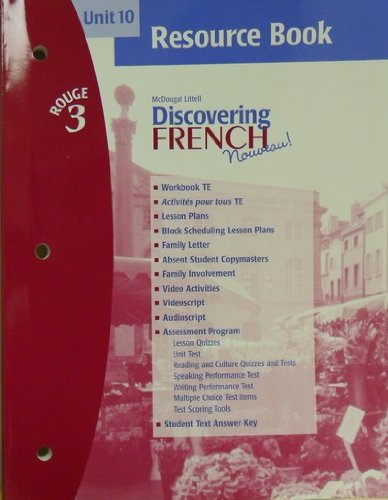 9780618299362: Unit 10, Resource Book, Discovering French (Rouge 3)