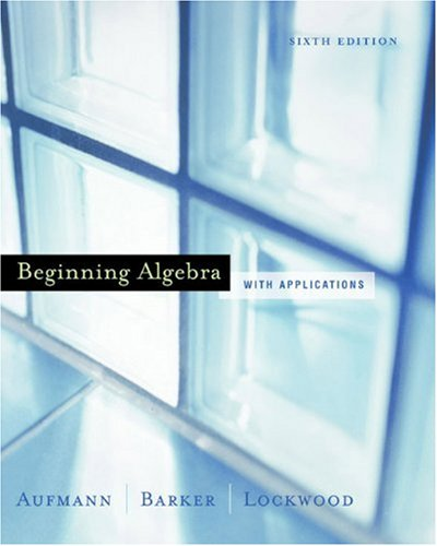 9780618306053: Beginning Algebra with Applications