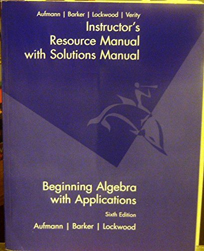 Instructors Resource Manual with Solutions Manual: Aufmann