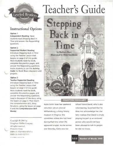 9780618327171: Stepping Back in Time, TEACHER'S GUIDE (Houghton Mifflin Leveled Readers)