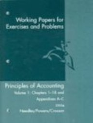 9780618379927: Principles of Accounting: Working Papers for Exercises and Problems Volume 1: Chapters 1-18 and Appendices A-C