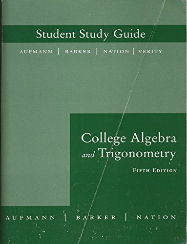 9780618386826: Student Study Guide: Used with ...Aufmann-College Algebra and Trigonometry