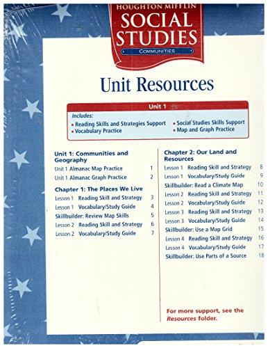 Houghton Mifflin Social Studies: Unit Research Folder Level 3 Communities: HOUGHTON MIFFLIN