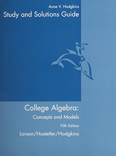 9780618492831: Student Study Guide for Larson/Hostetler/Hodgkins' College Algebra: Concepts and Models, 5th