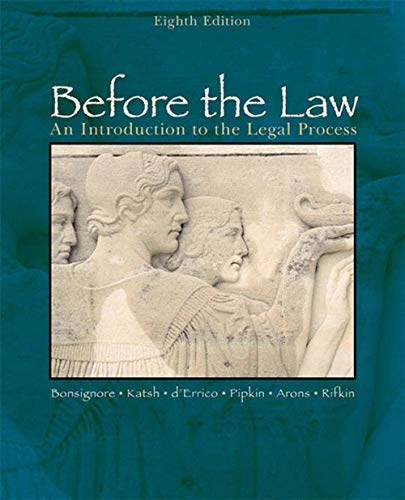 9780618503452: Before the Law: An Introduction to the Legal Process