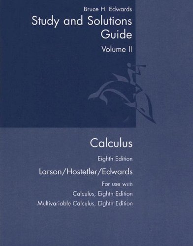 9780618527922: Calculus: Student Study And Solutions Guide Vol. 2