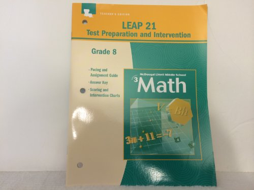 9780618531899: McDougal Littell Middle School Math Louisiana: LEAP Teacher s Editionst Preparation and InTeacher s Editionrvention Answer Key