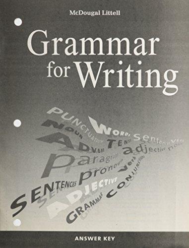 9780618566297: McDougal Littell Literature: Grammar for Writing Answer Key British Literature