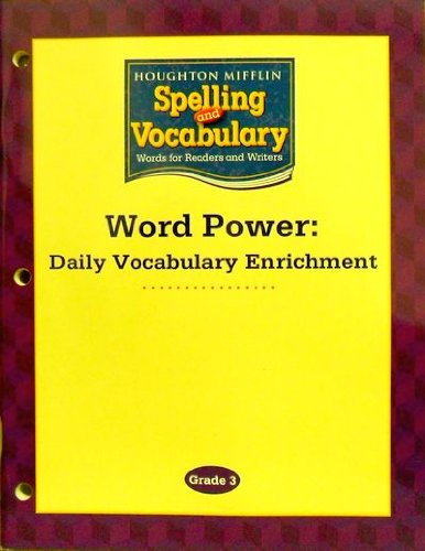 9780618576173: Houghton Mifflin Spelling and Vocabulary: Word Power: Daily Vocabulary Enrichment Book Grade 3