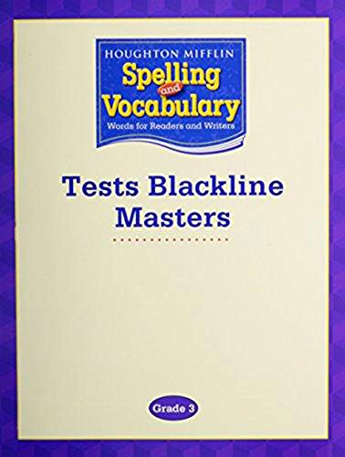 9780618576234: Houghton Mifflin Spelling and Vocabulary Grade 3, Tests Blackline Masters