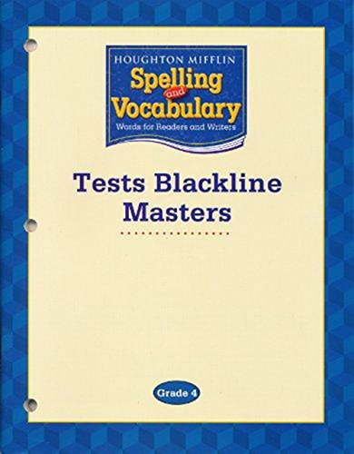 9780618576241: Houghton Mifflin Spelling and Vocabulary Tests Blackline Masters (Grade 4)