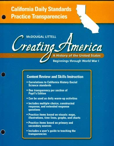 California Daily Standards Practice Transparancies, Creating America,: MCDOUGAL LITTEL