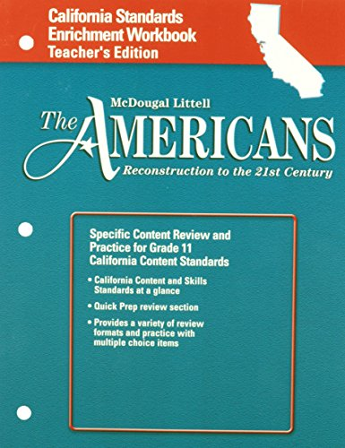 9780618582785: The Americans California: Standards Enrichment Workbook Teacher's Edition Grades 9-12 Reconstruction to the 21st Century