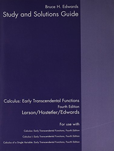9780618606276: Student Study Guide, Volume 1 for Larson/Hostetler/Edwards' Calculus: Early Transcendental Functions, 4th