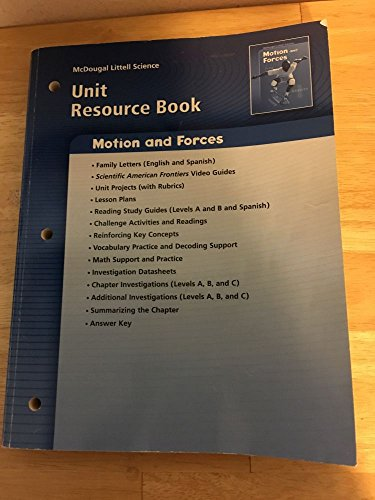 9780618615636: McDougal Littell Science: Physical Science: Unit Resource Book Motion and Forces