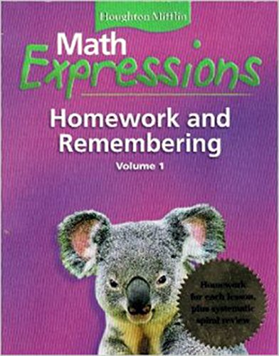 9780618641093: Math Expressions: Homework and Remembering, Grade 1 Vol. 1