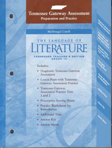 9780618646135: McDougal Littell Language of Literature Tennessee: Gateway Test Preparation and Practice Teacher Edition Gr 10-STKR