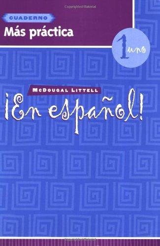 9780618661428: ¡En español!: Más práctica cuaderno (Workbook) with Lesson Review Bookmarks Level 1 (Spanish Edition)