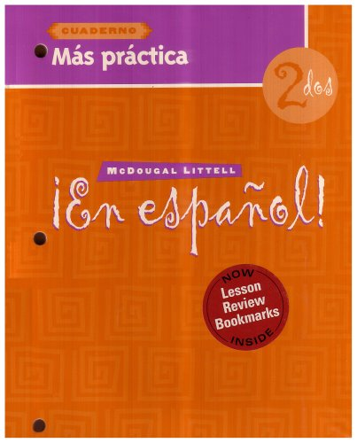 9780618661442: En Espanol: Level 2 Mas Practica Cuaderno with Lesson Review Bookmarks (Spanish Edition)