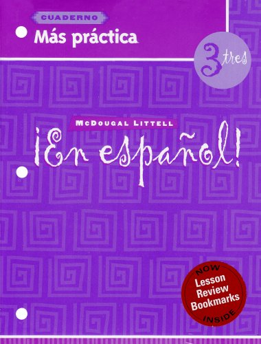 9780618661459: ¡en Español!: Más Práctica Cuaderno (Workbook) with Lesson Review Bookmarks Level 3