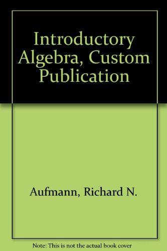 9780618678938: Introductory Algebra, Custom Publication