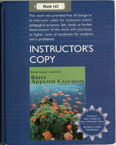 9780618731183: Brief Applied Calculus, Instructor's Copy