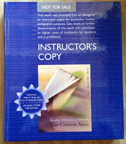 9780618733019: Secondary School Literacy Instruction: The Content Areas:instructor's Copy