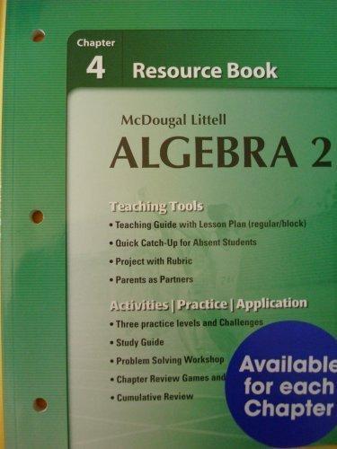 9780618734481: Holt McDougal Larson Algebra 2: Resource Book: Chapter 4