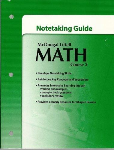 McDougal Littell Math Course 3: Note-taking Guide Teacher's Edition: MCDOUGAL LITTEL