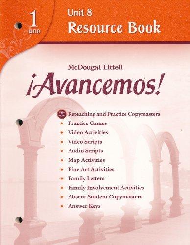 Avancemos!: Unit Resource Book 8 Level 1: MCDOUGAL LITTEL