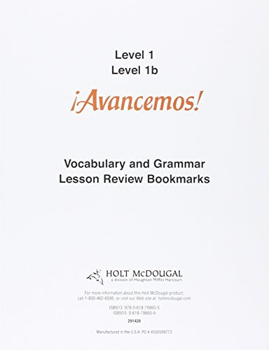Avancemos!: Lesson Review Bookmarks Levels 1B/1 (Spanish: MCDOUGAL LITTEL
