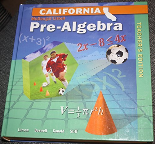 9780618807109: McDougal Littell Middle School Math California: Teacher's Edition Pre-Algebra 2008