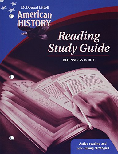 9780618829217: McDougal Littell Middle School American History: Reading Study Guide Beginnings to 1914