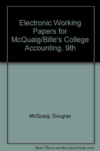 9780618855414: College Accounting Electronic Working Papers Ninth Edition