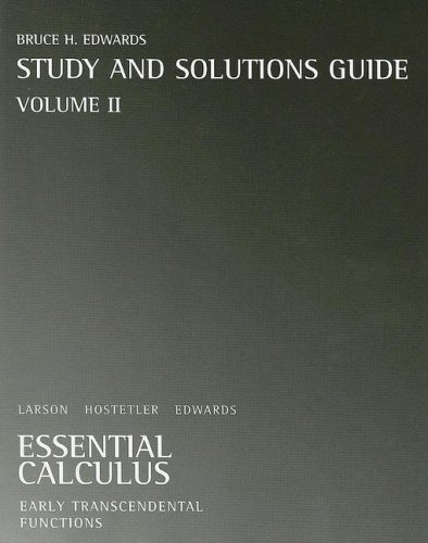 9780618879205: Essential Calculus Study and Solutions Guide, Volume II: Early Transcendental Functions: Chapters 9-13 and Appendix C: 2