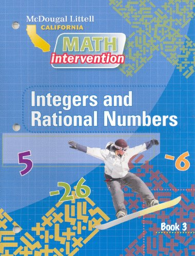 9780618893539: McDougal Littell Math Intervention California: Book 3: Integers and Rational Numbers Grades 6-8