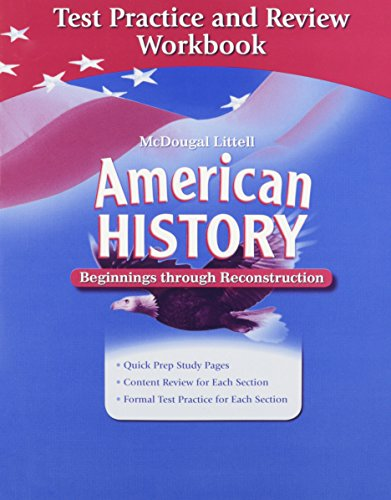 9780618893584: American History: Beginnings through Reconstruction: Test Practice and Review Workbook