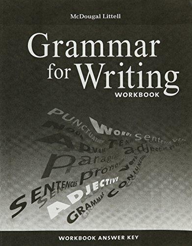 9780618906529: McDougal Littell Literature: Grammar for Writing Workbook Answer Key Grade 7