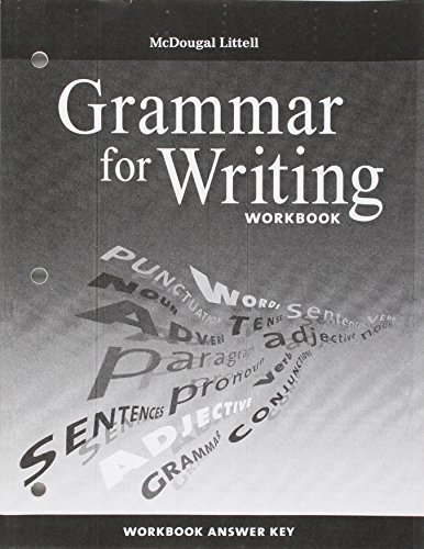 9780618906536: McDougal Littell Literature: Grammar for Writing Workbook Answer Key Grade 8