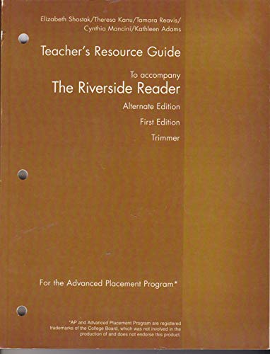 9780618948475: Teacher's Resource Guide to accompany The Riverside Reader Alternate edition First Edition