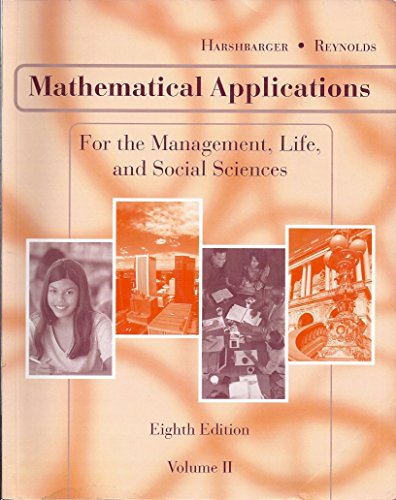 9780618979233: Mathematical Applications for the Management, Life and Social Sciences Volume 2 (Mathematical Applications, Volume 2)