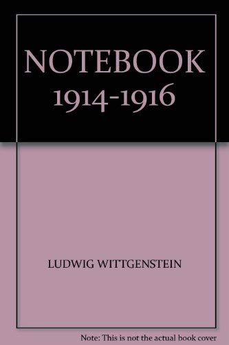 9780631062202: Ludwig Wittgenstein Notebooks 1914 - 1916