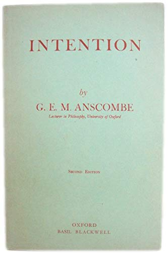 9780631075103: Intention (Blackwell Philosopher Dictionaries) by ANSCOMBE,