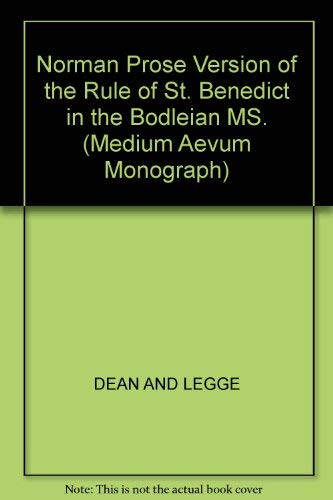 9780631079408: Rule of St. Benedict A Norman Prose Version