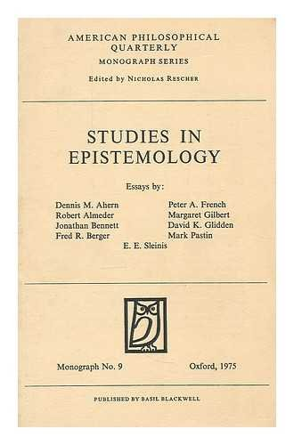 Studies in Epistemology (American Philosophy (Fup)): Blackwell Publishers